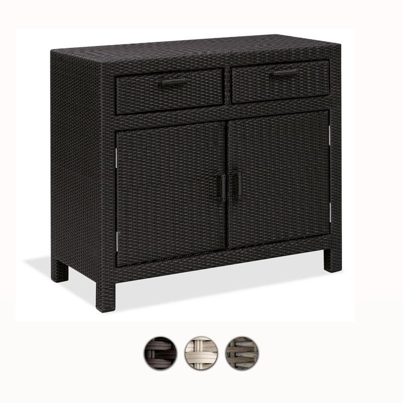 Armadio in wicker con 2 ante e 2 cassetti 100x50 h80 cm for Mobili contenitori da giardino