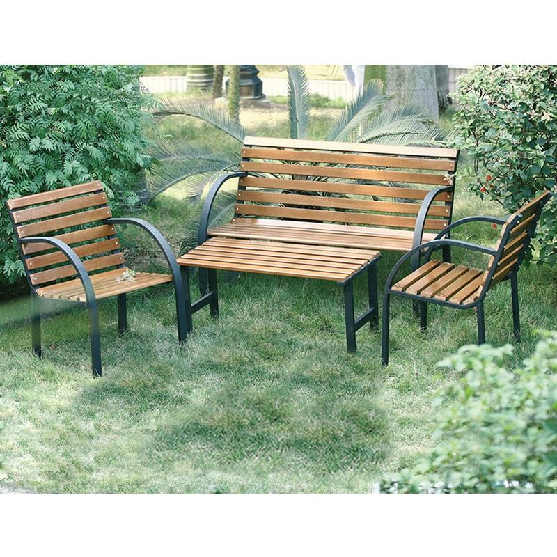 Salotto da giardino in acciaio e legno parco 4 posti - Salotto per giardino ...